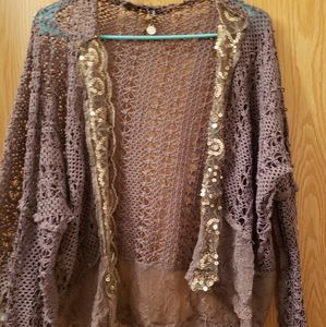 Open stitch cardigan with sequin detail